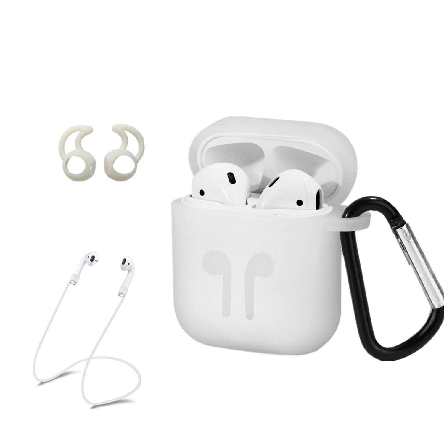 10a8da51852 AC Parts AirPods Case Accessories Kits Protective Silicone Cover and Skin 2  Ear Hook Grips, 2 Anti-Loss Staps, 1 Earphone Bag Apple Airpods Charging  Case ...