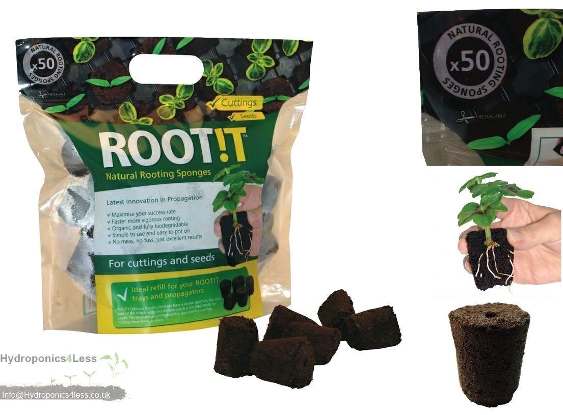 ROOT iT Rooting 50 Natural Sponge Cubes Refill Propagation Peat & Bark ROOT!T hydroponics4less