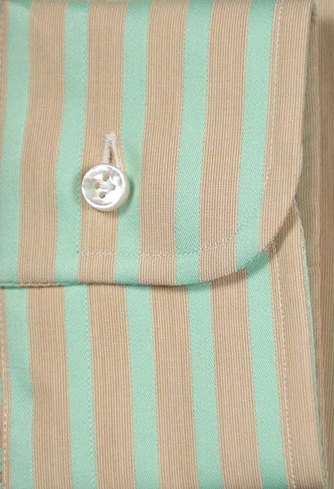 Size Large 17 Barba Napoli Green Stripes Button-Down Collar Cotton Slim Fit Dress Shirt