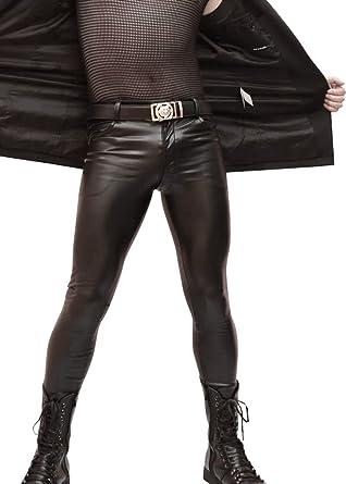 c809f69dc6379 Amazon.com: LinvMe Men's Sexy PU Skinny Tight Pencil Pants: Clothing