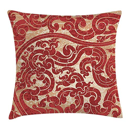 FFR-EHC Decorative Cushion Antique Thai Culture Vector Abstract Background Flower Pattern Wallpaper Design Imagine,Pillowcase Cushion Cover for Sofa Throw Pillow Case Gifts 18
