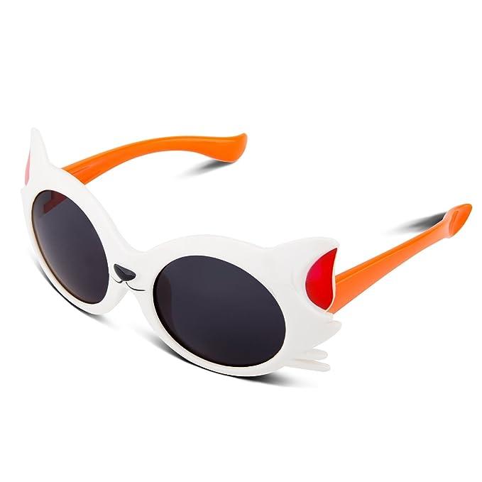 RIVBOS goma flexible cat niños polarizadas gafas de sol para el bebé y los niños edad