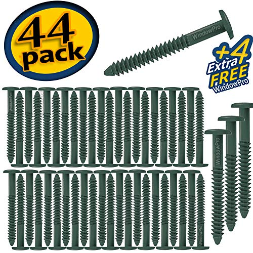 3 Panel Shutter - Window Shutter Panel Pegs Loks Spikes 3 inch 48 Pack (Green)
