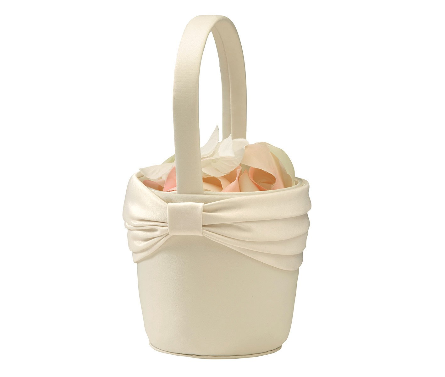 Lillian Rose Simple Satin Wedding Flower Girl Basket Ivory