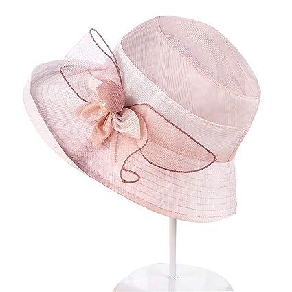 5de0620072a 1PC Lady Derby Dress Church Hat Tea Party Hat Summer Beach Hat Wide Brim  Sun Hat for Women UV Protection(Pink)  Amazon.co.uk  Kitchen   Home