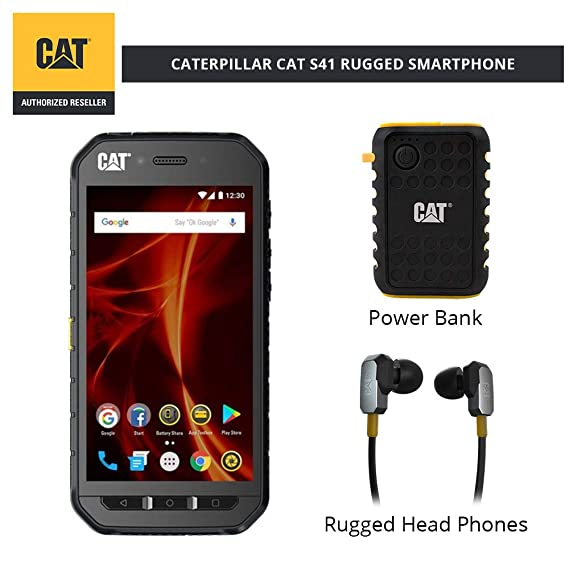 detailed look 311a1 2cd6a CAT PHONES S41 Rugged Waterproof Smartphone with ACTIVE URBAN Rugged  Earphones and Power Bank