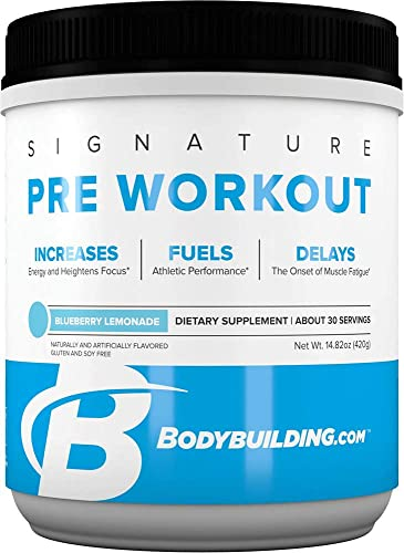 Bodybuilding Signature Pre Workout Powder CARNOSYN, L-LEUCINE, L-CITRULLINE Increases Focus, Fuels Performance Blueberry Lemonade, 30 Servings