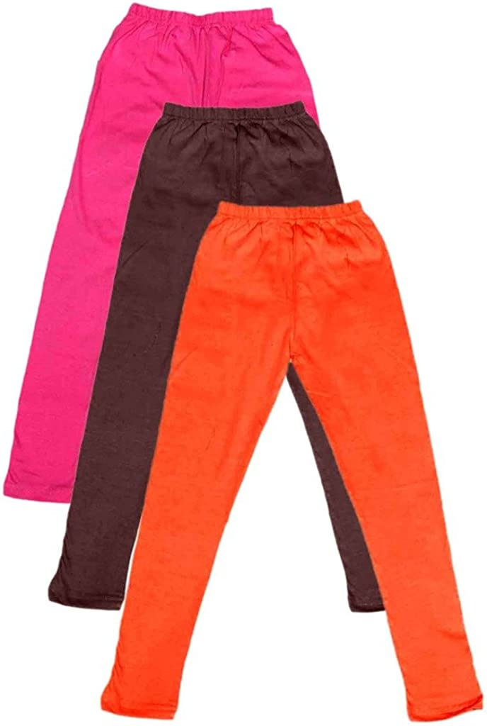 Indistar Big Girls Cotton Full Ankle Length Solid Leggings -Multiple Colors-11-12 Years Pack of 3