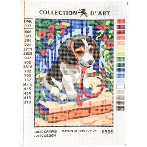 RTO Puppy D'Art Needlepoint Printed Tapestry Canvas, 30 x 40cm by RTO