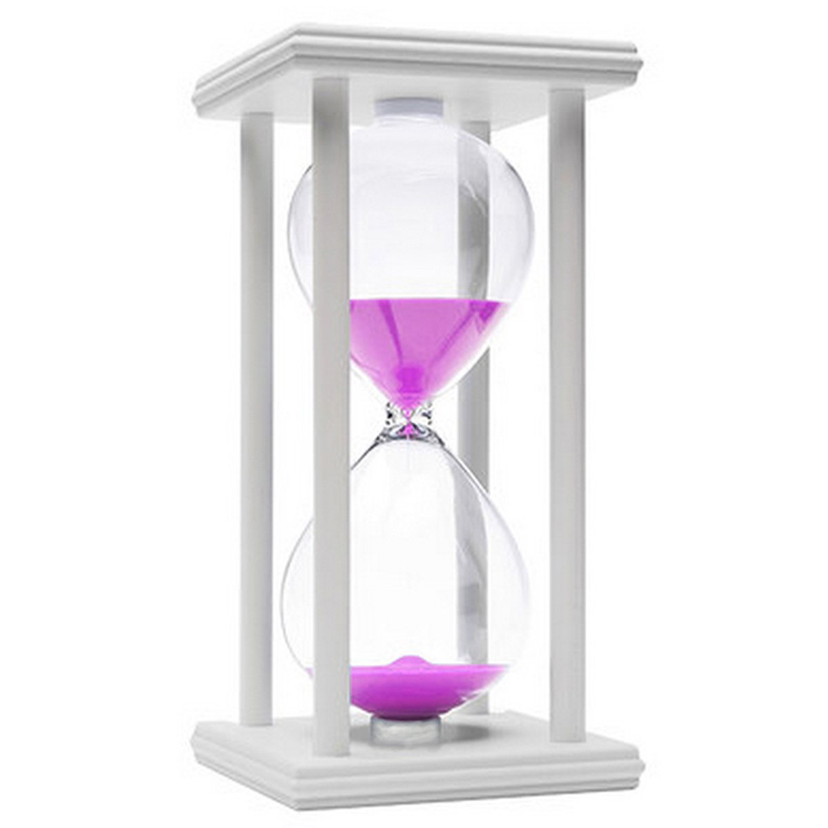 60 Minutes Hourglass, iPhyhe One Hour Sand Timer with White Wooden Frame (Pink Sand)