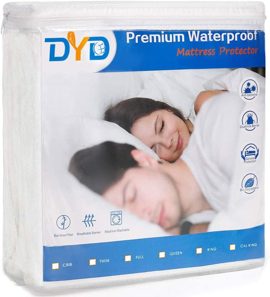 DYD Premium Waterproof Mattress Protector 3D Air Bamboo Fiber Ultra Soft, Breathable, Noiseless & Machine Washable Mattress Cover Hypoallergenic Oeko-TEX Certified Encasement