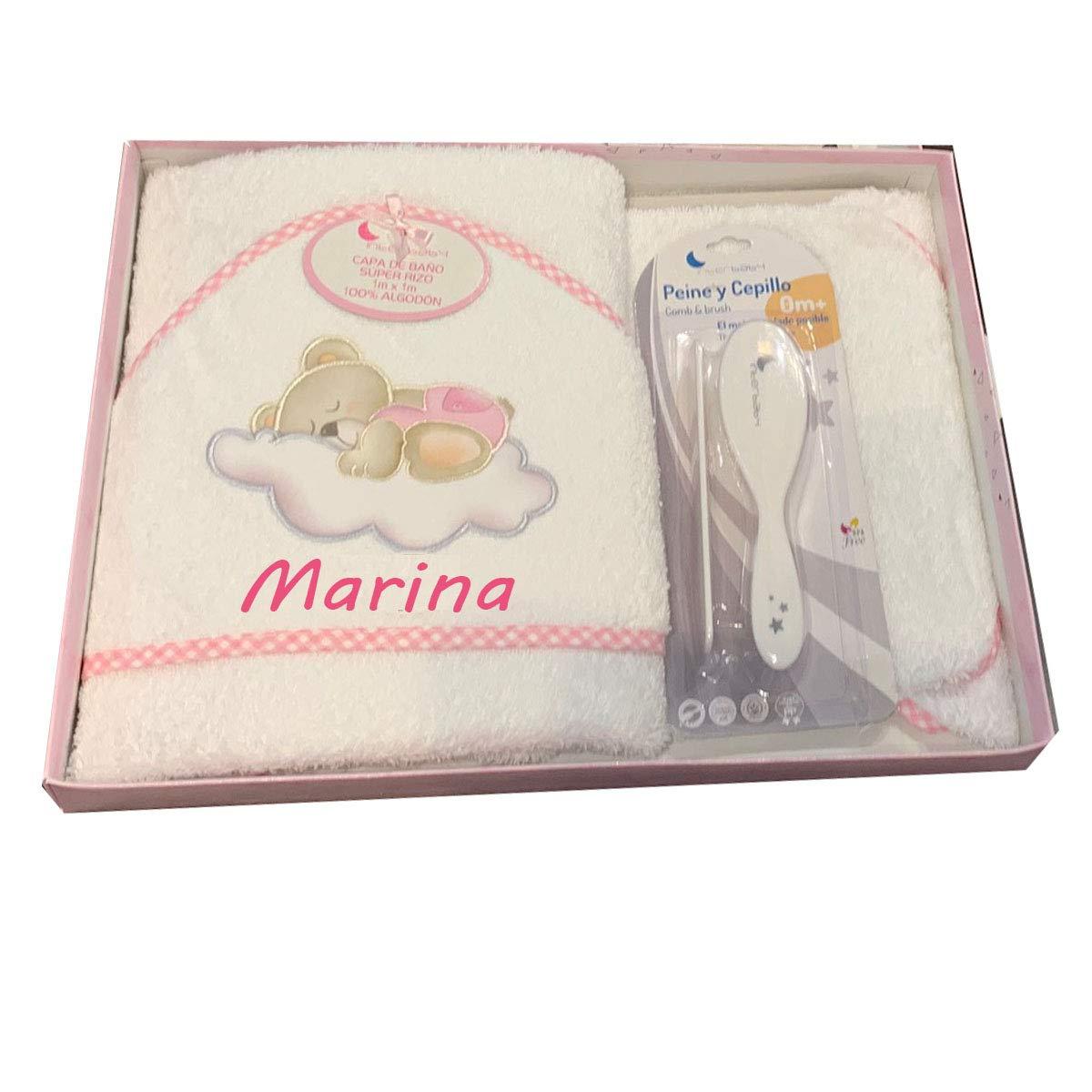 Color Blanco-Beige Toalla Capa de ba/ño Bebe Personalizada con nombre bordado Danielstore
