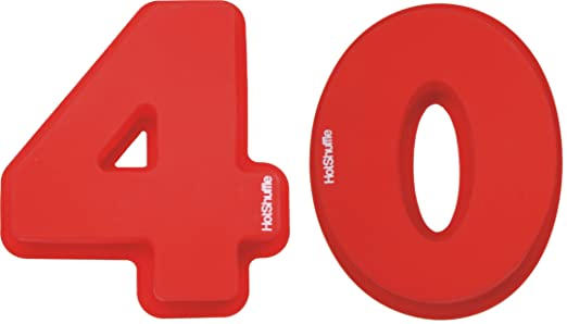 HotShuffle Gran número 40 de Silicona Cake Molde de estaño 40mo Aniversario de Bodas de rubí cumpleaños 4 0