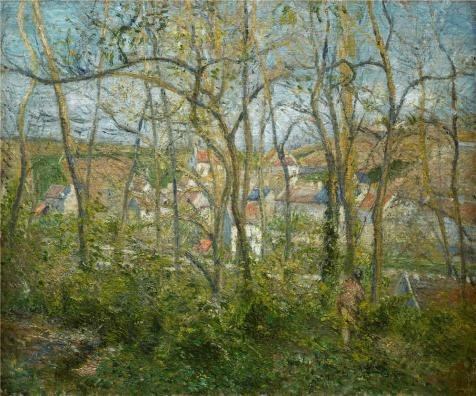 Oil Painting 'Camille Pissarro,Wooded Landscape At L'Hermitage,Pontoise,1879' Printing On Perfect Effect Canvas , 12x14 Inch / 30x37 Cm ,the Best Bedroom Artwork And Home Decor And Gifts Is This Replica Art DecorativeCanvas (Creative College Halloween Costumes 2015)