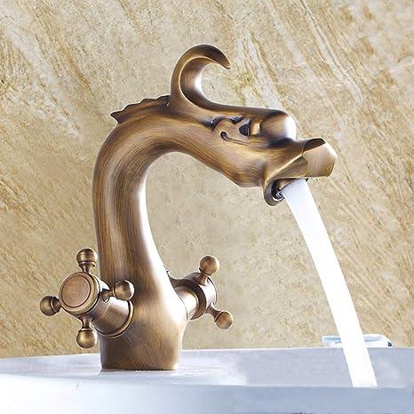 European Style Antique Brass Bathroom Kitchen Basin Faucet Mounted Sink Tap WA