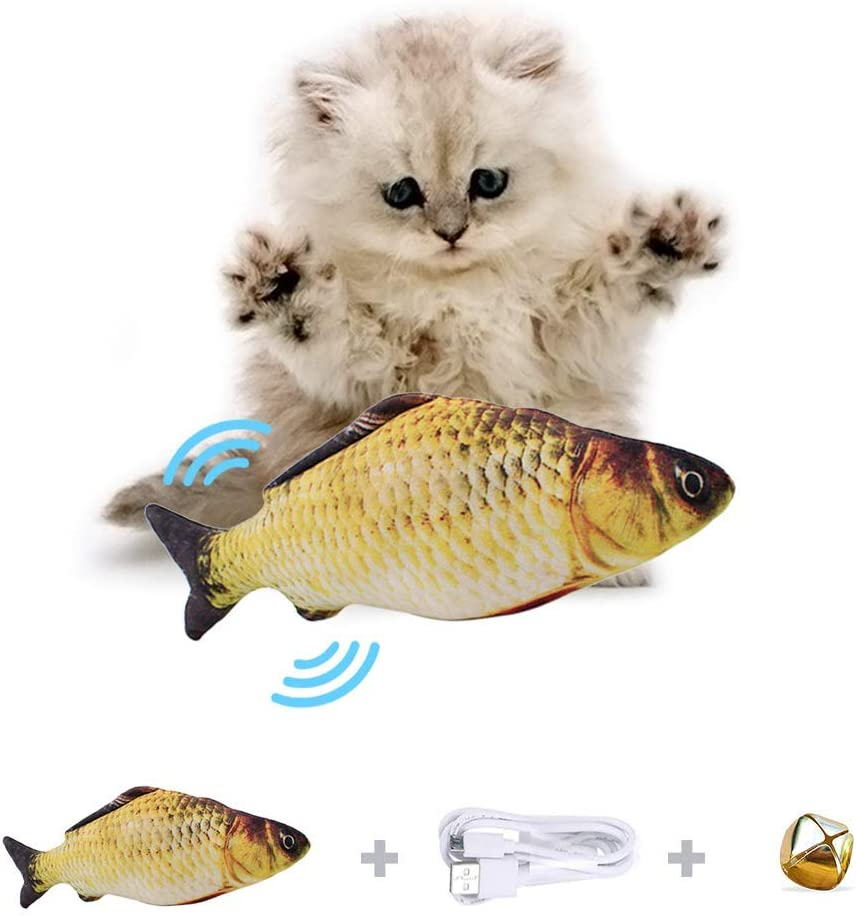 Chewing and Kicking Perfect for Biting Funny Interactive Pets Chew Bite Supplies for Cat//Kitty//Kitten Fish Flop Cat Toy Catnip Toys B ODOLDI Realistic Plush Simulation Electric Doll Fish