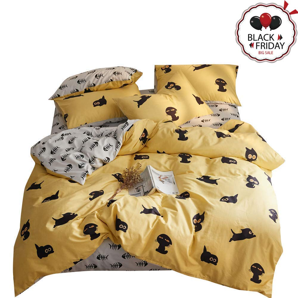 VCLIFE Cotton Queen Cartoon Bedding Set-Cute Fish Bones Cat Animal Reversible Duvet Cover Sets, Yellow White Black Bedding Comforter Cover with Pillow Shams, Plush Hypoallergenic, Durable