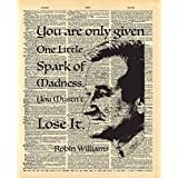Dictionary Print, Robin Williams, One Spark of Madness Quote Vintage Dictionary Art Print 8x10 inch Home Vintage Art for Home Decor Wall Decorations For Living Room Bedroom Office Ready-to-Frame