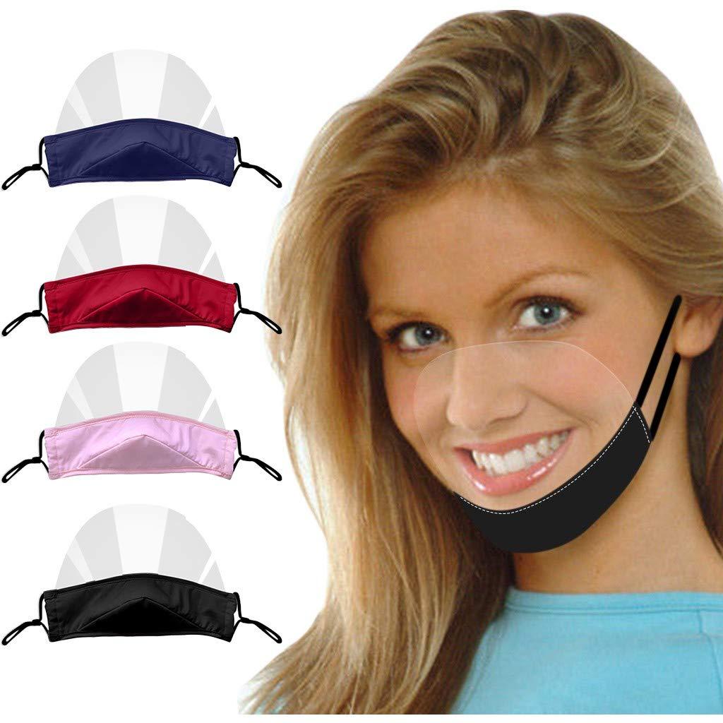Visera antivaho transparente, cómoda, lavable y reutilizable de 4 piezas | Pantalla protectora de plástico para catering | Revestimiento facial para boca y nariz con sonrisa
