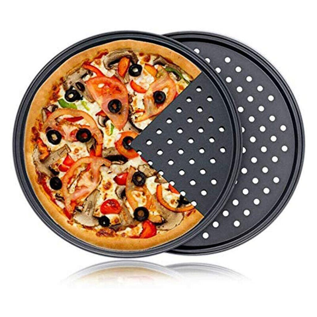 Atezch Pizza Crisper Pan Baking Tray, 10 inch Pizza Baking Pan with Holes, Carbon Steel Round Crispy Crust Pizza Oven Tray Non-Stick Bakeware Tool for Restaurant Home Daily Use