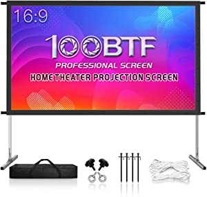 Projector Screen with Stand, 135 inch Premium 3 Layers PVC Movie Screen, 4K HD 16:9 Outdoor/Indoor Foldable Anti-Crease Front Projector Screen for Home Garden Theater Backyard