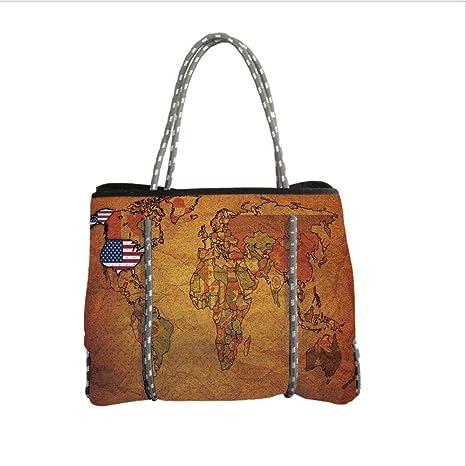 Amazon.com: Neoprene Multipurpose Beach Bag Tote Bags,USA Map,Old ...