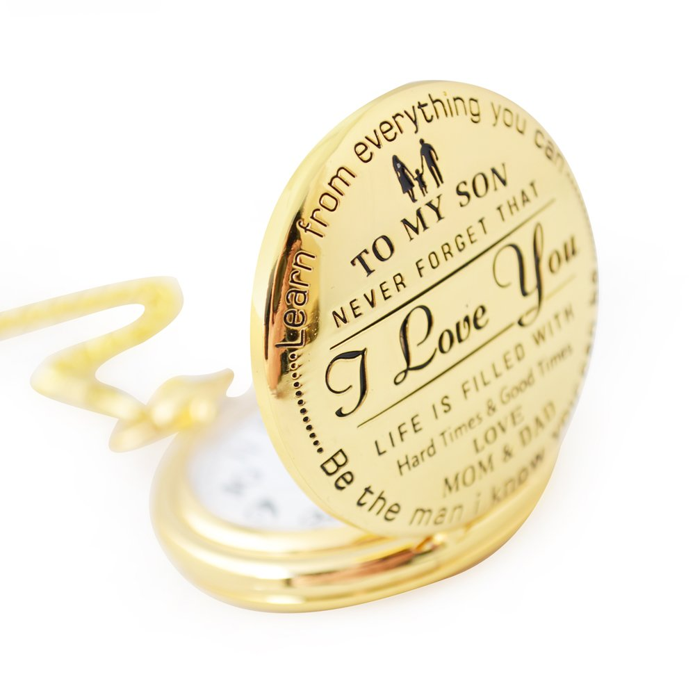 Perfect Gifts For Son - Engraved 'To My Son - Love Dad and Mom' Gift to Son | Mother to Son Gifts, Birthday/Graduation Present, Xmas Present with Black Gift Box Dad to son (I love you) by Keswon Gifts (Image #3)
