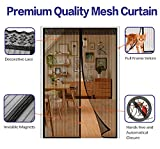 """Magnetic Screen Door Fit Door 60""""(w) X 80""""(h),Full Frame Velcro,Hands Free Bug Mesh Curtain For French Door,Automatically Tight Closure Black"""