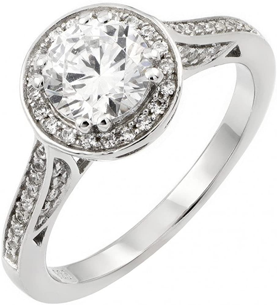Princess Kylie Pave Set Round Cubic Zirconia Channel Set Bridal Ring Rhodium Plated Sterling Silver