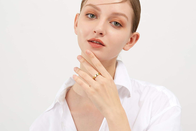 LFRIO 18K Gold Plated Titanium Steel Ring for Women Love Ring