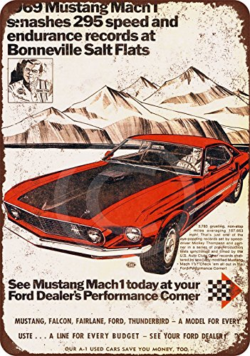 1969 Ford Mustang Mach 1 at Salt Flats Reproduction Metal Sign 8 x -