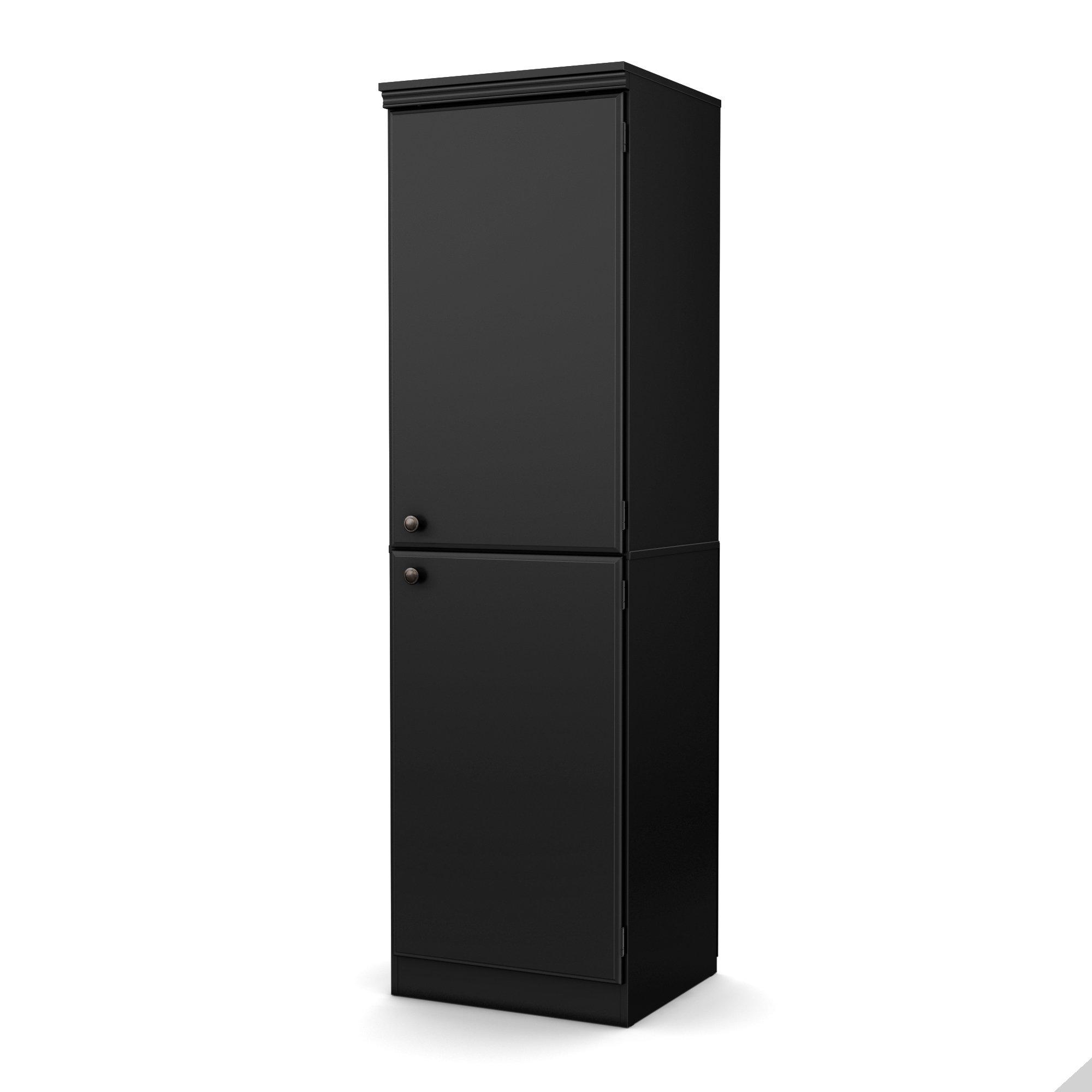 South Shore Morgan Narrow Storage Cabinet, Pure Black