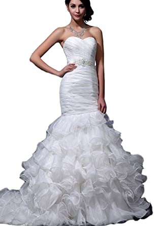 Albizia Women's Sweetheart Mermaid Organza Wedding Dresses