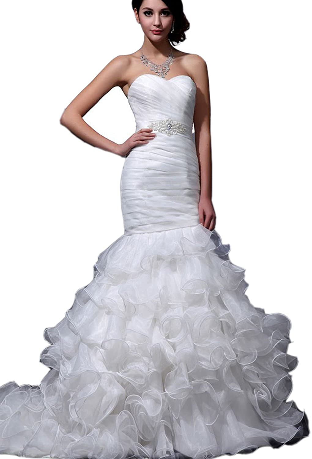 Albizia Women\'s Sweetheart Mermaid Organza Wedding Dresses at Amazon ...