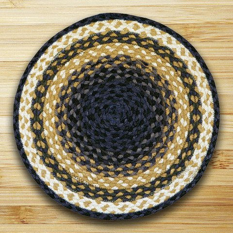 15.5in. x 15.5in. Light Blue, Dark Blue, & Mustard Jute Chair Pad - Set of 4