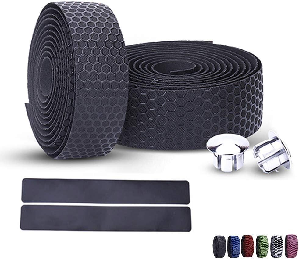 Anti-slip Cycling Belt Straps 2 Bar Plug PU Leather Wrap Bicycle Handlebar Tape