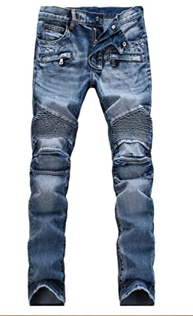 eb358bb2f159 Ptyhk RG Men s Distressed Ripped Biker Moto Denim Pants Slim Fit Zipper  Jeans ...