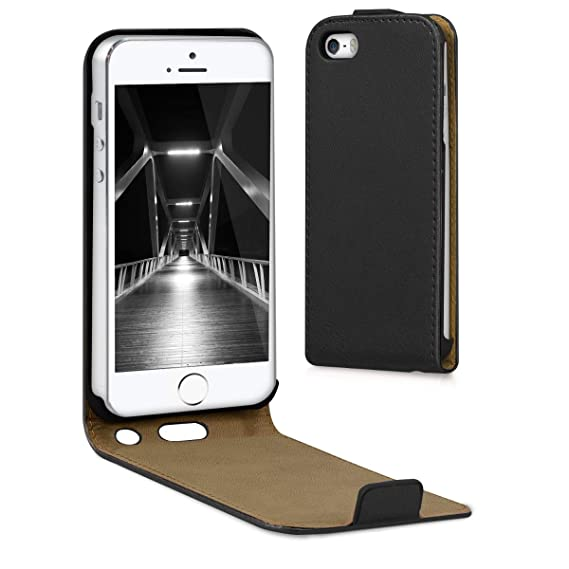 new arrival 63104 61754 kwmobile Vertical Flip Case for Apple iPhone SE / 5 / 5S - PU Leather  Protective Flip Cover with Magnet - Black