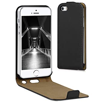 kwmobile Funda compatible con Apple iPhone SE / 5 / 5S - Carcasa para móvil de cuero sintético - Case en negro
