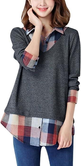 Mujer Camisas a Cuadros Blusa De Moda De Manga Larga Casual Camisetas: Amazon.es: Ropa y accesorios