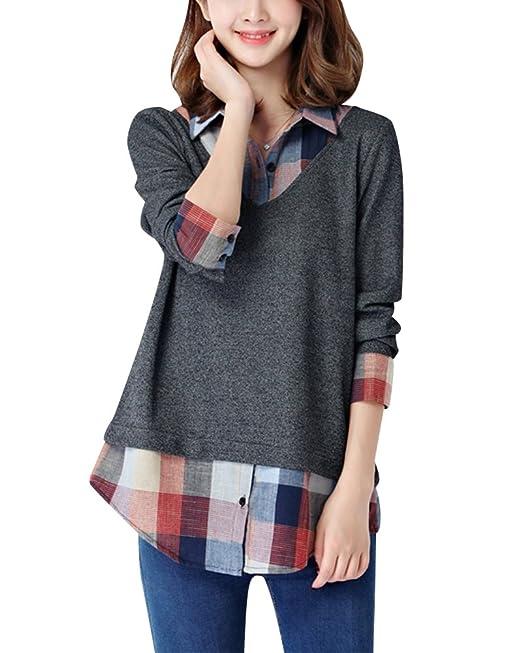 Mujer Camisas a Cuadros Blusa De Moda De Manga Larga Casual Camisetas Gris 2XL