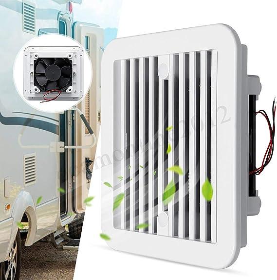 Lorsoul Bajo Nivel de Ruido Universal de pl/ástico 12V RV remolques de Camping Side Salida de Aire de ventilaci/ón del Ventilador del Ventilador de refrigeraci/ón Blanca