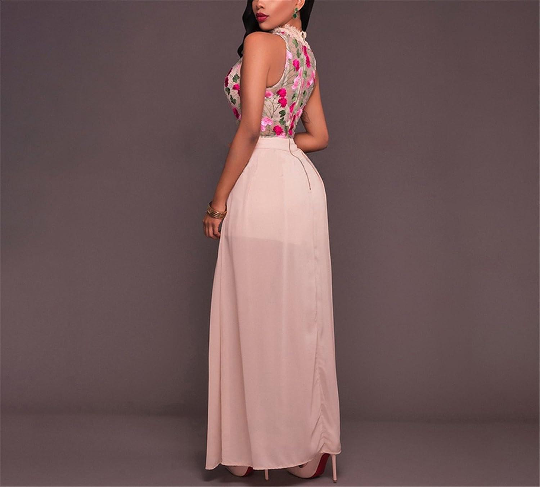 Amazon.com: Hexu bordado floral chiffon summer dress mulheres slit black lace dress mangas sexy party club longo dress maxi vestidos: Clothing