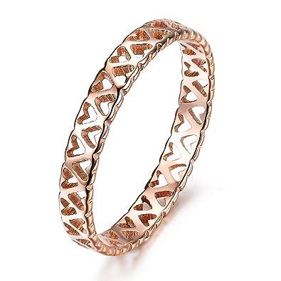 Feilok Elegant Women Stainless Steel Hollow Flower Camellia Band Ring, Rose Gold, 4 Ring Size Options
