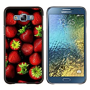 TECHCASE---Cubierta de la caja de protección para la piel dura ** Samsung Galaxy E7 E700 ** --fresa bayas de color rojo verano verde