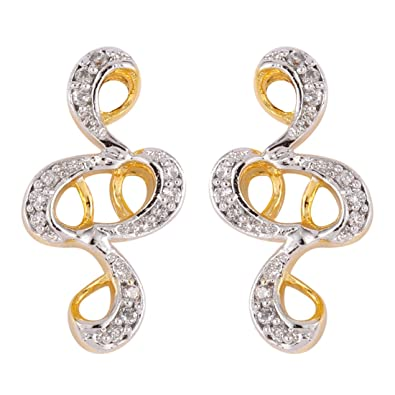 fd59f40d2 Buy EMERALDS BAZAR CZ PAVE TWO TONE GOLD PLATED STUD MINI EARRINGS FASHION JEWELRY  FOR WOMEN Online at Low Prices in India | Amazon Jewellery Store ...
