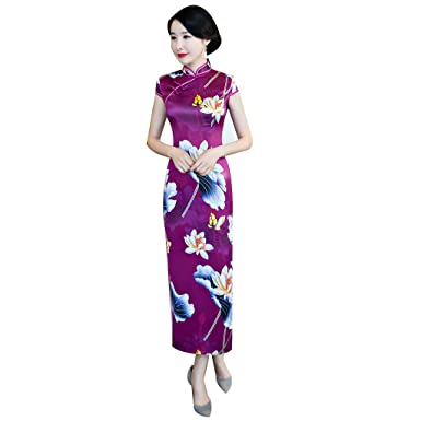 823d1d685dbae (上海物語)Shanghai Story チャイナ服 人造 シルク チャイナドレス ワンピース 中国風 チーパオ