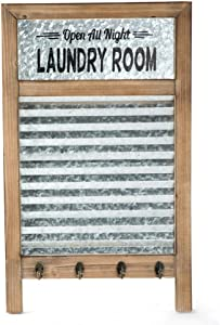 "EMAX HOME Large Farmhouse Metal and Wood Washboard with Towel Hooks for Laundry Room,Vintage Laundry Room Wall Decor Sign with Galvanized Memo Board 24.75"" x 15"""