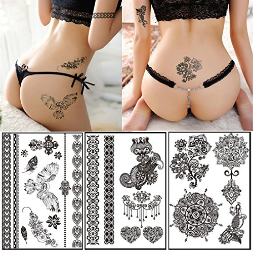 10 Sheets Black Lace Tattoos Face Body Paint Henna Ink Body Painting Make Up Halloween Party Fashion Stickers Waterproof Body Art Tattoo- Over 60+ Henna Designs for $<!--$10.58-->
