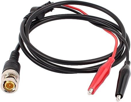 SOURCING MAP sourcingmap Cable Coaxial Todo-cobre BNC machos Enchufe a 2 Pinza De Contacto Osciloscopio Medidor Cable Prueba CABLE 110cm: Amazon.es: Bricolaje y herramientas